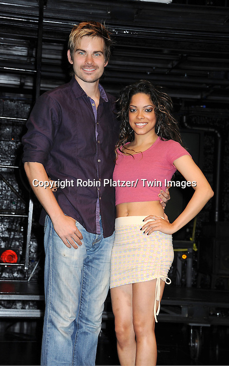 "Matt Shingledecker and Arianda Fernandez attending the photo call for the new production of ""Rent"" .on August 1, 2011 at The New World Stages in New York City."