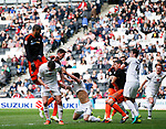 Leon Clarke of Sheffield Utd scores the first goal during the English League One match at  Stadium MK, Milton Keynes. Picture date: April 22nd 2017. Pic credit should read: Simon Bellis/Sportimage