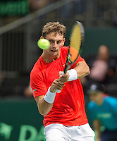 Switserland, Genève, September 20, 2015, Tennis,   Davis Cup, Switserland-Netherlands, Henri Laaksonen (SUI)<br /> Photo: Tennisimages/Henk Koster