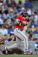 Steve Lombardozzi #1 of the Washington Nationals bats against the Los Angeles Dodgers at Dodger Stadium on April 28, 2012 in Los Angeles,California. Los Angeles defeated Washington 4-3.(Larry Goren/Four Seam Images)