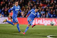 7th March 2020; Coliseum Alfonso Perez, Madrid, Spain; La Liga Football, Club Getafe Club de Futbol versus Celta Vigo; Angel Rodriguez (Getafe CF) hits the ball out wide