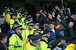 Police form a barrier to keep fans apart during the premier league match at the Etihad Stadium, Manchester. Picture date 7th April 2018. Picture credit should read: Simon Bellis/Sportimage