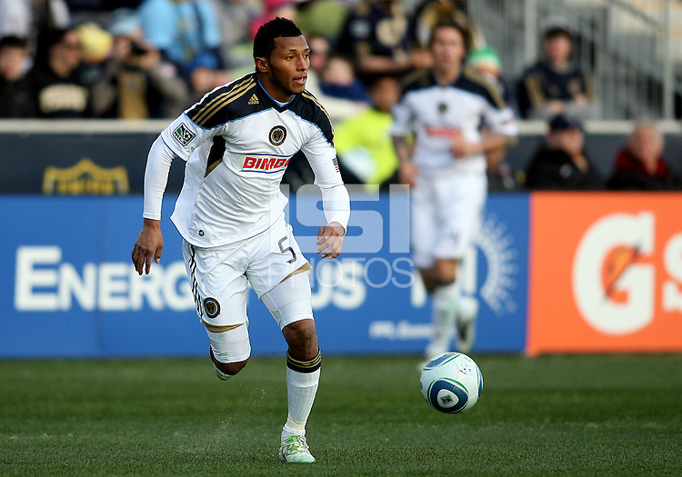 Carlos Valdes#5 of the Philadelphia Union during an MLS match against the Vancouver Whitecaps at PPL Park in Chester, PA. on March 26 2011.Union won 1-0.