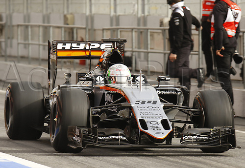 22.02.2016 Circuit Barcelona-Catalunya, Barcelona, Spain. Formula 1 test days.  Alfonso Celis driving VJM09 Force India during the launch of  new cars for the upcoming Formula One season.
