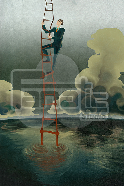 Illustrative image of businessman climbing ladder of success represents rebuilding loss
