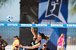 GULF SHORES, AL - MAY 07: Laurel Weaver (20) of the University of Hawaii hits the ball during the Division I Women's Beach Volleyball Championship held at Gulf Place on May 7, 2017 in Gulf Shores, Alabama.Pepperdine defeated Hawaii 3-0 to advance to the championship game.  (Photo by Stephen Nowland/NCAA Photos via Getty Images)