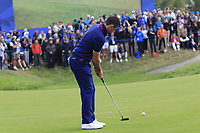 Rory McIlroy Team Europe putts on the 8th green during Friday's Fourball Matches at the 2018 Ryder Cup, Le Golf National, Iles-de-France, France. 28/09/2018.<br /> Picture Eoin Clarke / Golffile.ie<br /> <br /> All photo usage must carry mandatory copyright credit (© Golffile | Eoin Clarke)