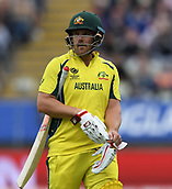 June 10th 2017, Edgbaston, Birmingham, England;  ICC Champions Trophy Cricket, England versus Australia; Aaron Finch of Australia after being dismissed