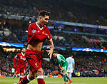 Liverpool's Roberto Firmino celebrates scoring his sides second goal during the Champions League Quarter Final 2nd Leg match at the Etihad Stadium, Manchester. Picture date: 10th April 2018. Picture credit should read: David Klein/Sportimage