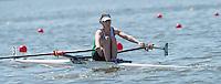 Brandenburg. GERMANY. IRL LW1X, Denise WALSH at the start of her heat. <br /> 2016 European Rowing Championships at the Regattastrecke Beetzsee<br /> <br /> Friday  06/05/2016<br /> <br /> [Mandatory Credit; Peter SPURRIER/Intersport-images]