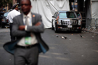 United States President Barack Obama's motorcade waits to leave after he spoke at the U.S.-Africa Business Forum at the Plaza Hotel, September 21, 2016 in New York City. The forum is focused on trade and investment opportunities on the African continent for African heads of government and American business leaders. Photo Credit: Drew Angerer/CNP/AdMedia