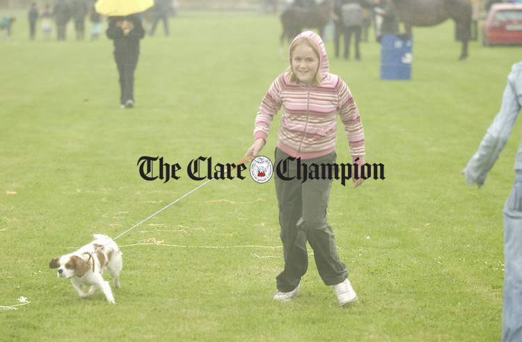 Catriona O Connor from Nenagh with her dog Sandy, which eventually won her forst prize, at Mullagh Show. Photograph by John Kelly.