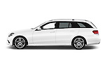 Car Driver side profile view of a 2015 Mercedes Benz Classe E E250 4Matic 5 Door Wagon 4WD Side View