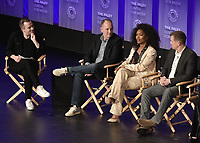 "HOLLYWOOD, CA - MARCH 17:  Tim Stack, Tim Minear, Angela Bassett and Peter Krause at PaleyFest 2019 - Fox's ""9-1-1"" panel at the Dolby Theatre on March 17, 2019 in Hollywood, California. (Photo by Scott Kirkland/Fox/PictureGroup)"