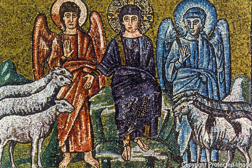 Ravenna: Mosaic--Christ separating the sheep from the goats, 6th century. Basilica of Nuovo Sant'Apollinare.