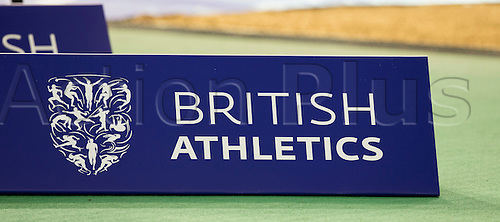27.02.2016. EIS Sheffield, Sheffield, England. British Indoor Athletics Championships Day One. A British Athletics sign next to the triple jump pit.