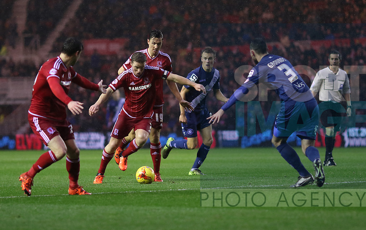 Grant Leadbetter of Middlesbrough driving into the box towards Jonathan Grounds of Birmingham City - Sky Bet Championship - Middlesbrough vs Birmingham City - Riverside Stadium - Middlesbrough - England - 12th of December 2015 - Picture Jamie Tyerman/Sportimage