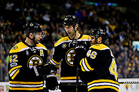 Tuesday, March 21, 2017: Boston Bruins defenseman Zdeno Chara (33) (middle) talks to right wing David Backes (42) and center David Krejci (46) before a face off during the National Hockey League game between the Ottawa Senators and the Boston Bruins held at TD Garden, in Boston, Mass. Ottawa defeats Boston 3-2 in regulation time. Eric Canha/CSM