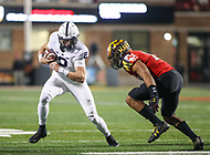 College Park, MD - November 25, 2017: Penn State Nittany Lions quarterback Tommy Stevens (2) tries to avoid a tackle during game between Penn St and Maryland at  Capital One Field at Maryland Stadium in College Park, MD.  (Photo by Elliott Brown/Media Images International)