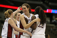 18 March 2006: Morgan Clyburn hugs Eziamaka Okafor during Stanford's 72-45 win over Southeast Missouri State in the first round of the NCAA Women's Basketball championships at the Pepsi Center in Denver, CO.