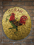Moran Rooster mosaic details along Fondamenta dei Vetrai on the main canal of Murano, Italy