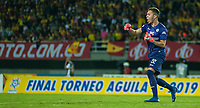 PEREIRA - COLOMBIA, 10-06-2019: Juan C Arturo arquero de Cortulua celebra el primer gol de su equipo durante partido entre Deportivo Pereira y Cortuluá por la final vuelta de la Liga Águila 2019 I jugado en el estadio Hernán Ramírez Villegas de la ciudad de Pereira. / Juan C Arturo goalkeeper of Cortulua celebrates the first goal of his team during second leg final match between Deportivo Pereira and Cotulua for the Aguila Tournament 2019 I played at the Hernan Ramirez Villegas stadium in Pereira city.  Photo: VizzorImage/ Juan Torres / Cont