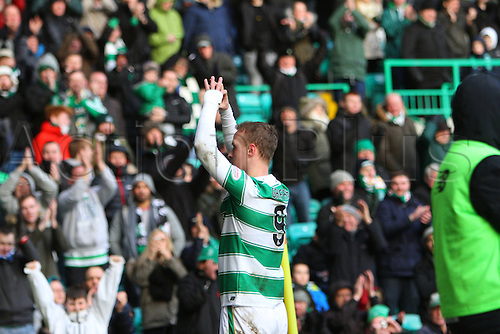20.02.2016. Celtic Park, Glasgow, Scotland. Scottish Premier League. Celtic versus Inverness CT. Leigh Griffiths gestures to the crowd to celebrate his goal