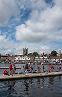 Henley-on-Thames. United Kingdom.  Ohio State University. Boating for their heat of the Remenham Challange cup at the 2017 Henley Royal Regatta, Henley Reach, River Thames. <br /> <br /> <br /> 10:35:08  Friday  30/06/2017   <br /> <br /> [Mandatory Credit. Peter SPURRIER/Intersport Images.