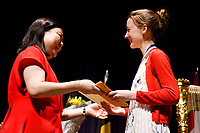 Stage IV finalist Mathilde Wauters receives the Korea International Harp Competition Prize (third prize) from USA International Harp Competition Board Member Jung Kwak during the awards ceremony of the 11th USA International Harp Competition at Indiana University in Bloomington, Indiana on Saturday, July 13, 2019. (Photo by James Brosher)