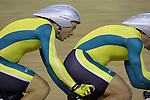 Bryce Lindores and pilot Steven George post a qualifying time of 4:27:58 to win a place to ride off for bronze in the men's individual pursuit B & VI 4000m event on day one of the track cycling program at the Laoshan Velodrome