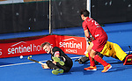 Blair Tarrant scores a goal during the Pro League Hockey match between the Blacksticks men and Belgium, National Hockey Arena, Auckland, New Zealand, Sunday 2 February 2020. Photo: Simon Watts/www.bwmedia.co.nz