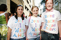 Jesse McCartney fans wait in line to see him perform at the Hammerstein Ballroom in New York City on June 24, 2005.