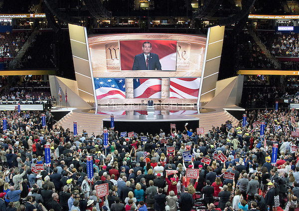 United States Senator Ted Cruz (Republican of Texas) is boo-ed off the stage after making remarks at the 2016 Republican National Convention held at the Quicken Loans Arena in Cleveland, Ohio on Wednesday, July 20, 2016.<br /> Credit: Ron Sachs / CNP/MediaPunch<br /> (RESTRICTION: NO New York or New Jersey Newspapers or newspapers within a 75 mile radius of New York City)