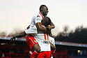 Lucas Akins of Stevenage is congratulated by Francois Zoko after scoring<br />  - Stevenage v Stourbridge - FA Cup Round 2 - Lamex Stadium, Stevenage - 7th December, 2013<br />  © Kevin Coleman 2013