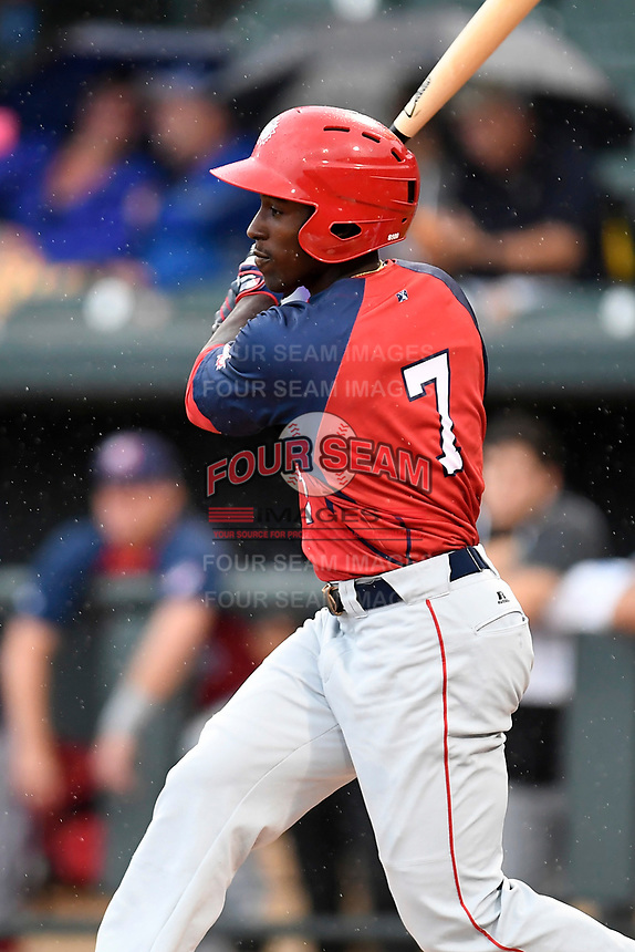 Daniel Johnson (7) of the Hagerstorn Suns with the North team bats during the South Atlantic League All-Star Game on Tuesday, June 20, 2017, at Spirit Communications Park in Columbia, South Carolina. The game was suspended due to rain after seven innings tied, 3-3. (Tom Priddy/Four Seam Images)
