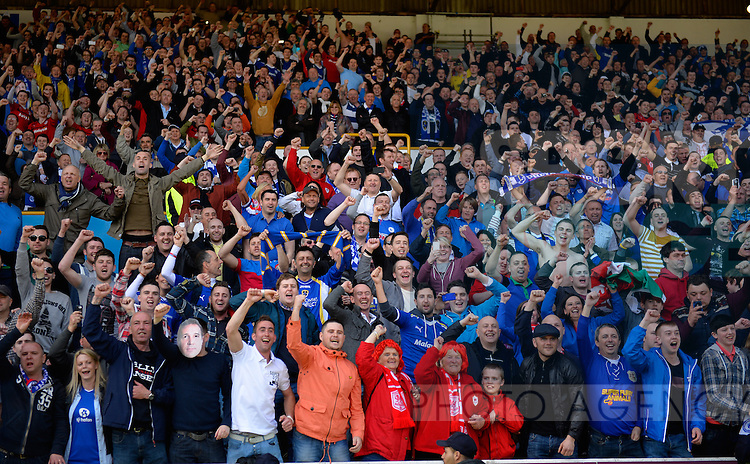 Cardiff City fans celebrate - NPower Championship - Burnley vs Cardiff City - Turf Moor Stadium - Burnley - 20/04/13 - Pic Simon Bellis/Sportimage