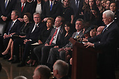 Former U.S. President George W. Bush, his wife former first lady Barbara Bush, former Florida Governor Jeb Bush and other members of the Bush family listen as Vice President Mike Pence speaks about former President George H.W. Bush during ceremonies in the U.S. Capitol Rotunda in Washington, U.S., December 3, 2018. REUTERS/Jonathan Ernst/Pool