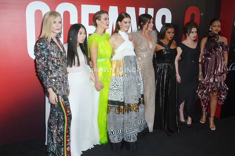 Cast (l-r) Cate Blanchett, Awkwafina, Sarah Paulson, Anne Hathaway, Sandra Bullock, Mindy Daling, Helena Bonham Carter and Rihanna arrive at the World Premiere of Ocean's 8 at Alice Tully Hall in New York City, on June 5, 2018.