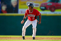 Nick Williams (1) of the Hickory Crawdads takes his lead off of second base against the Kannapolis Intimidators at L.P. Frans Stadium on May 25, 2013 in Hickory, North Carolina.  The Crawdads defeated the Intimidators 14-3.  (Brian Westerholt/Four Seam Images)