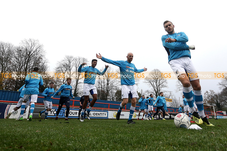 Barrow players warm up ahead of Braintree Town vs Barrow, Vanarama National League Football at the IronmongeryDirect Stadium on 1st December 2018