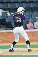 Cody Manzella (13) of the High Point Panthers at bat against the Wake Forest Demon Deacons at Wake Forest Baseball Park on April 2, 2014 in Winston-Salem, North Carolina.  The Demon Deacons defeated the Panthers 10-6.  (Brian Westerholt/Four Seam Images)