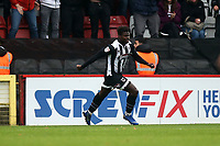 Ahkeem Rose of Grimsby Town scores the first goal for his team and celebrates during Stevenage vs Grimsby Town, Sky Bet EFL League 2 Football at the Lamex Stadium on 12th October 2019