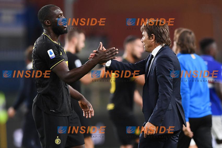 Antonio Conte , Romelu Lukaku of FC Internazionale <br /> Genova 28-09-2019 Stadio Luigi Ferraris Football Serie A 2018/2019 Sampdoria - FC Internazionale  <br /> Photo Image Sport / Insidefoto