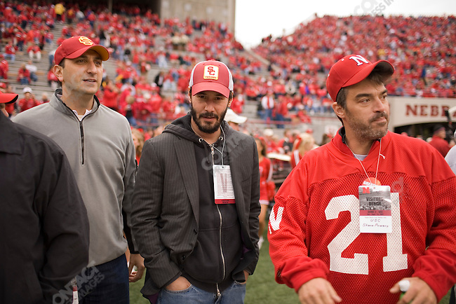 """Survivor"" star Shane Powers and actor Keanu Reeves on the sidelines before The University of Nebraska vs. The University of Southern California football game. Lincoln, Nebraska, September 15, 2007."