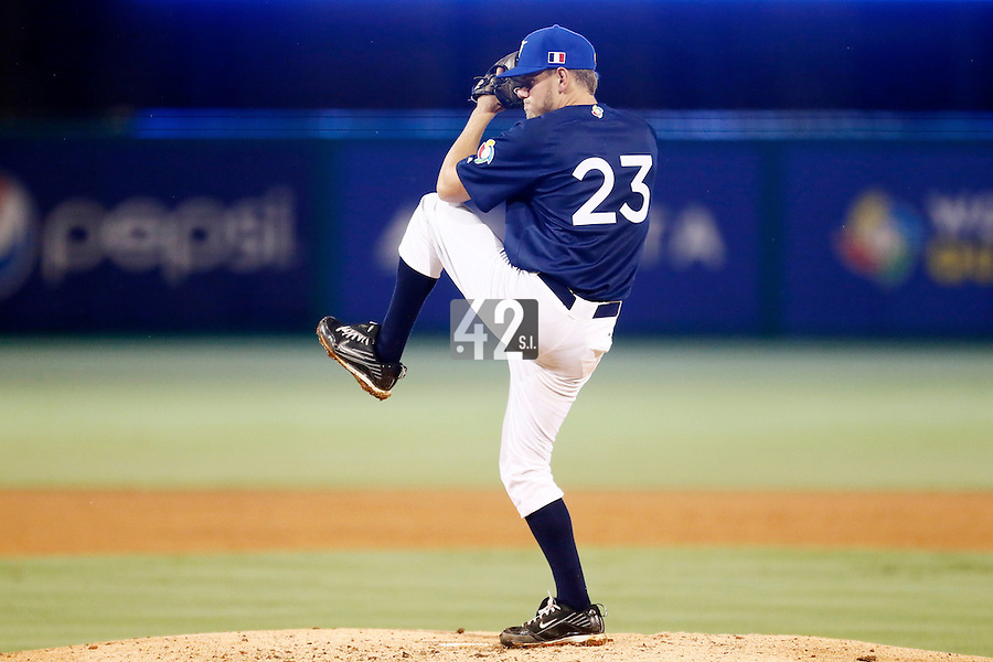 21 September 2012: Starting pitcher Owen Ozanich pitches against South Africa during France vs South Africa tie game 2-2, rain delayed at the end of the 9th inning at 1 AM, during the 2012 World Baseball Classic Qualifier round, in Jupiter, Florida, USA. Game to resume 22 September 2012 at noon.