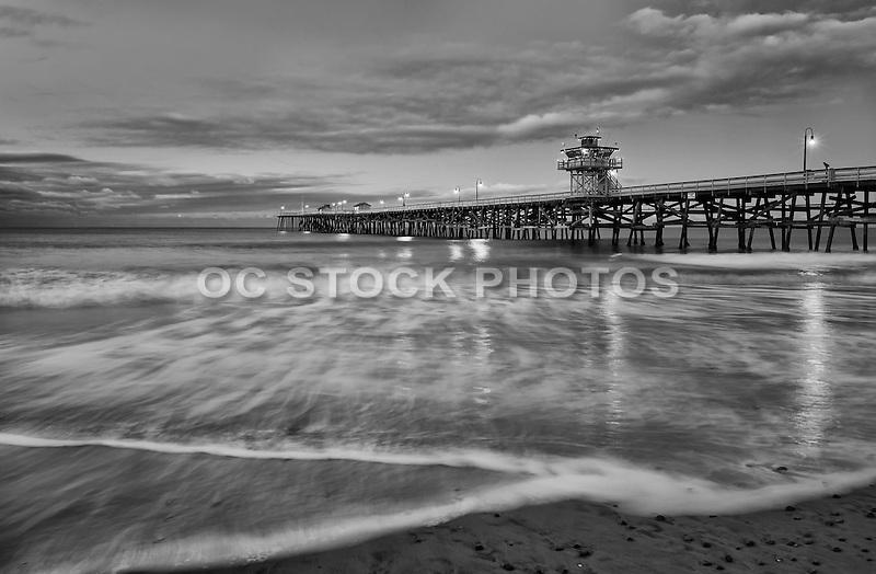 San Clemente Pier Black and White Stock Photo
