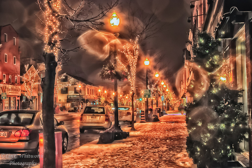 Oakville downtown nighttime winter street view over the Christmas season.