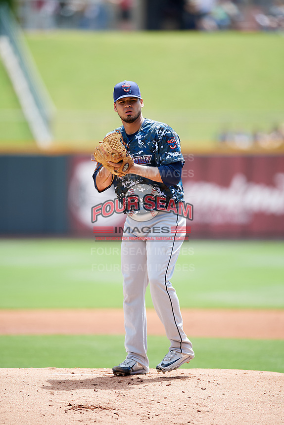 Jacksonville Jumbo Shrimp starting pitcher Omar Bencomo (40) gets ready to deliver a pitch during a game against the Birmingham Barons on April 24, 2017 at Regions Field in Birmingham, Alabama.  Jacksonville defeated Birmingham 4-1.  (Mike Janes/Four Seam Images)