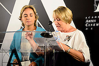 Public Notary Eva Sanz del Real (L) and the acting president Yvonne Blake (R) during the reading of the selected movie to represent Spain at the Oscars in Madrid. September 07, 2016. (ALTERPHOTOS/Borja B.Hojas)
