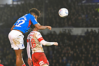 Correction: Ellis Harrison of Portsmouth has a header on goal to provide John Marquis of Portsmouth to make the score 2-1 to Portsmouth during Portsmouth vs Rotherham United, Sky Bet EFL League 1 Football at Fratton Park on 26th November 2019